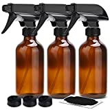 Amber Glass Spray Bottles 8oz ULG Empty Boston Round Bottle Heavy Duty Black Trigger Sprayer with Mist, Stream for Essential Oils, Cleaning Products and Aromatherapy 3 Piece