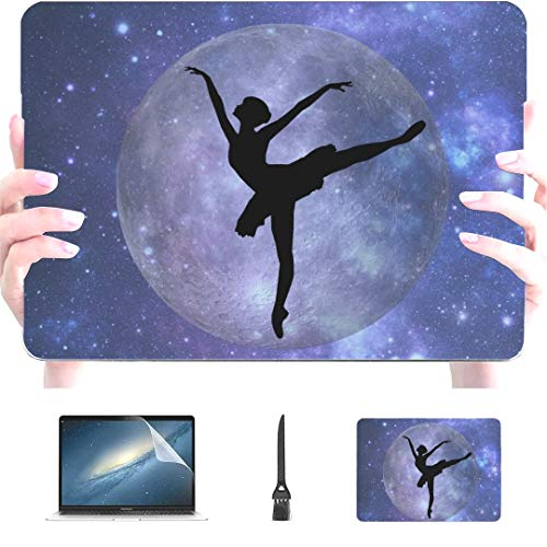 Engree MacBook Pro 13 Inch Case 2015 2014 2013 end 2012 A1502 A1425, Digital Art Ballet Silhouette Moon Stars Delicate Pattern Hard Shell Case Cover for Old Version Apple Mac Pro Retina 13