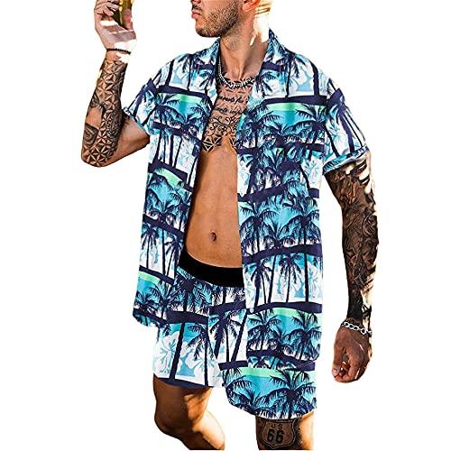 Playa Shirt Hombre Verano Moda Cuello V Holgada Cárdigan Hombre Manga Corta Set Moderno Vintage Estampado Hombre Shirt Casual Vacaciones Hombre Camiseta