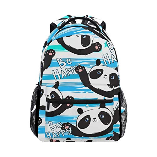 DOUBLE Shoulder Bag Cute Happy Pandas Hello Welcome College Casual Printed Gift Book Backpack School Bag Laptop Daypack Student Travel for Women Kids Boys Men Girls