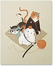 Samurai Cats and Rabbit Art Print Cute Ninja Karate Feline Kitty Bunny Wall Poster Funny Fighting Animals Illustration Home Decor 8 x 10 inches