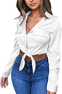 Womens Sexy Long Sleeve Blouses V Neck Tie Knot Tops Button Up Shirts