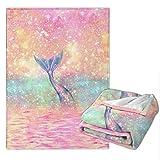 Tie Dye Mermaid Warm Throw Blanket Ultra-Soft Micro Fleece Blanket for Bed Couch Living Room