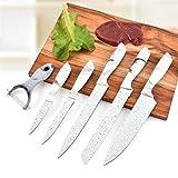 Ergonomia Metti il coltello 5pcs in acciaio inox antiaderente Coltello da cucina Con un vegetale stabilito del Peeler della lama di sbucciatura del cuoco unico coltello da cucina Strumenti Set Damas