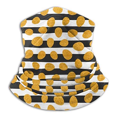 Calentador de Cuello de Microfibra Unisex Caída de Huevos de Pascua Dorados Sobre Fondo de Rayas Pasamontañas Sombreros Bufanda para Polvo Viento Protección Solar