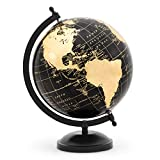 Abbott Collection 57-LATITUDE-10 Globe on Stand-Blk/Gold-11 H, 11 inches high, Black/gold