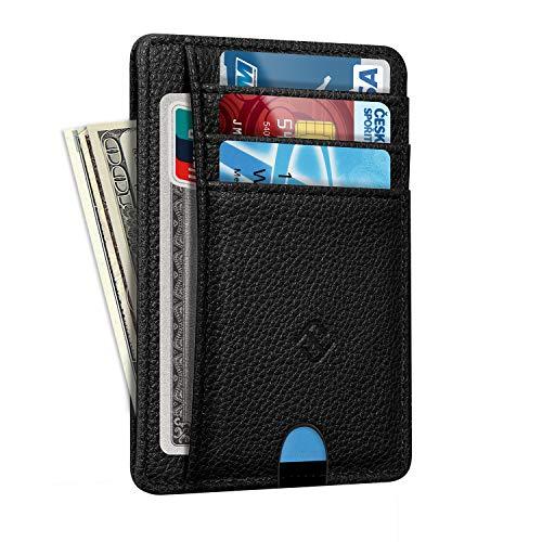 Fintie Flache Geldbörse, Kunstleder RFID Schutz Geldbeutel Kartenetui Kreditkarten Halter mit ID-Fenster und Schnellzugriff-Fach, Schwarz