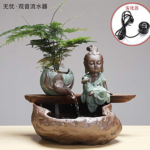 HONIC Creative Zen Fountain Water Heater humidifier Household Living Room TV Cabinet Decoration Bonsai Geyser Handicraft : 86.4
