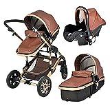 QTWW Cochecito de bebé 5 en 1 con Paisaje Alto, Cochecito de bebé con Marco de aleación de Aluminio para niños de PU con ComformStroller para recién Nacidos (Color: Coffee PU)
