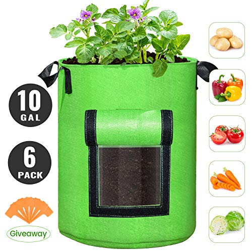 SCENGCLOS 6 Pack 10 Gallon Grow Bags, Breathable Thickened Non-Woven Fabric Plant Pots with Handles and Access Flap, Garden Planting Bags for Grow Vegetables, Tomato,Carrot, Onion, Fruits