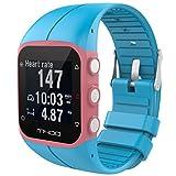 tpulling Polar M400en silicone de bracelet en silicone Type nouvelle et doux-Bracelet de Montre caoutchouc de Dragonne, bleu