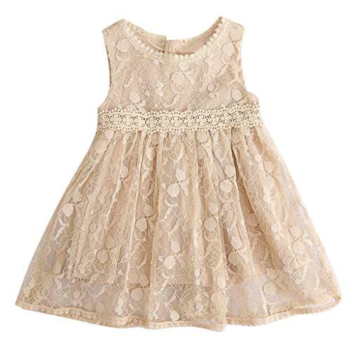 YWLINK MäDchen Mesh Retro Elegant ÄRmellos Kleiden Süß Knielang Spitze Patchwork Party Urlaub Prinzessin Kleid(Beige,110)