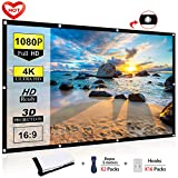Ylife 84 Inch Projector Screen, 16:9 HD 4K No Crease Portable Video Movie Screen Grommets for Outdoor Indoor Home Theater