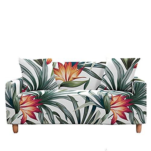Meiju Fundas de Sofá Elasticas de 1 2 3 4 Plazas Impresión Ajustables Antideslizante Cubierta de Sofá Lavable Extensible Funda Cubre Sofas Furniture Protector (Tropical,3 plazas - 190-230cm)