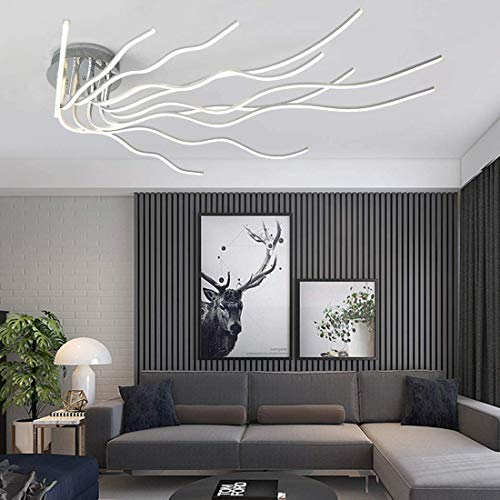 Moderne LED Deckenleuchte Dimmbar mit Fernbedienung,138W Wohnzimmerlampe Deckenleuchte Dimming Farbwechsel,140cm LED Lampen Deckenlampe fur Schlafzimmer Esszimmer Komplett