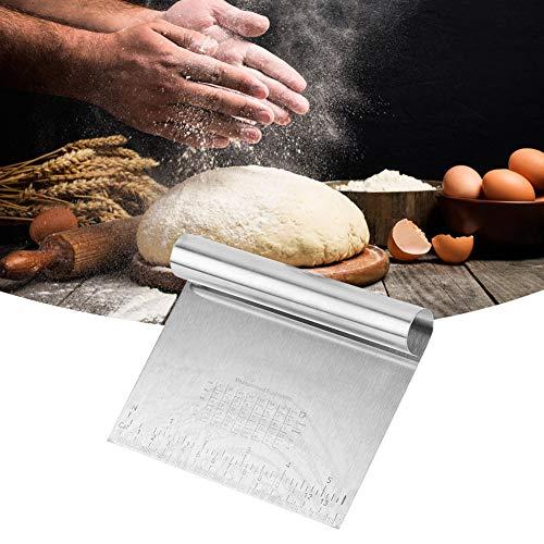 2 piezas de acero inoxidable cortador de pastelería raspador de masa herramienta para hornear con escala de medición cortador de pasteles, cortador de pizza, separador de pan de repostería para la coc