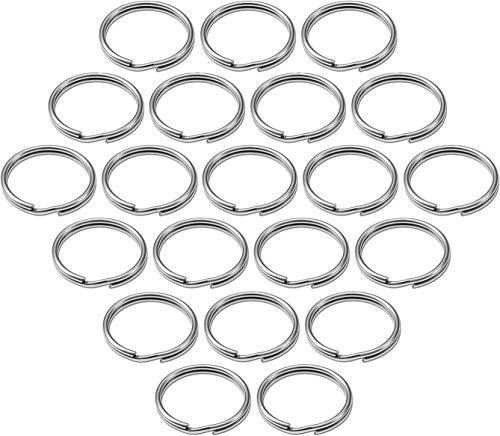 """Lucky Line ½"""" Split Key Ring Bulk Nickel-Plated Tempered Steel, Heavy Duty Metal Key Chain Ring for Cars, Crafts, Lanyards, 100 Per Box (76000)"""