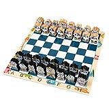 qingfeitai Juego de ajedrez Q versión tridimensional de dibujos animados de ajedrez piezas de dibujos animados con cordón Juguetes niños de madera medieval juego de ajedrez