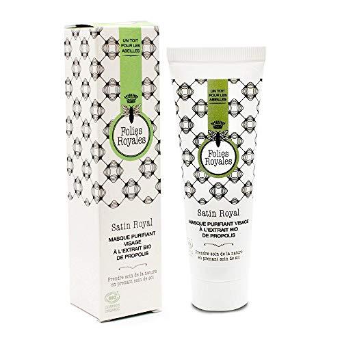 Masque Visage Purifiant Bio Propolis Argiles Rose et Blanche Camomille - Masque Visage Nettoyant Matifiant Peau Douce - 50 ml
