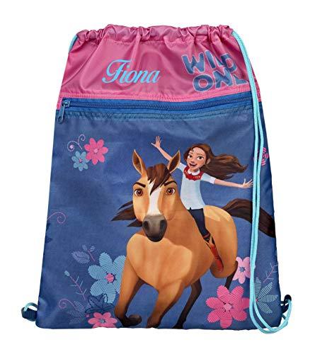 Turnbeutel mit Namen | inkl. NAMENSDRUCK | Motiv Spirit Pferde | Personalisieren & Bedrucken | Schuhbeutel Mädchen pink rosa