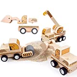 Wooden Construction Vehicles Truck Toys Set for Kids Inertia Push Back Car for Toddlers Stacking Engineering Playset Educational Toys (Crane & Road Roller & Loader)