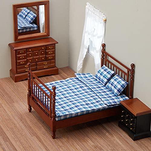 factorydirectcraft Walnut Double Bedroom Set - House Miniat Seasonal Wrap Introduction Elegant Doll