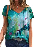 CuteRose Women Floral Print V-Neck Short Sleeves Relaxed-Fit Pullover tee Shirt Tunic 4 L