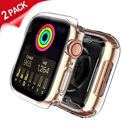 Uitee 2-Pack Clear Apple Watch Screen Protector with Bounce Apple Watch Band, Backup Ultra-Thin TPU HD Full Protective Cover Cases for Apple Watch 42mm Series 1/2 /3