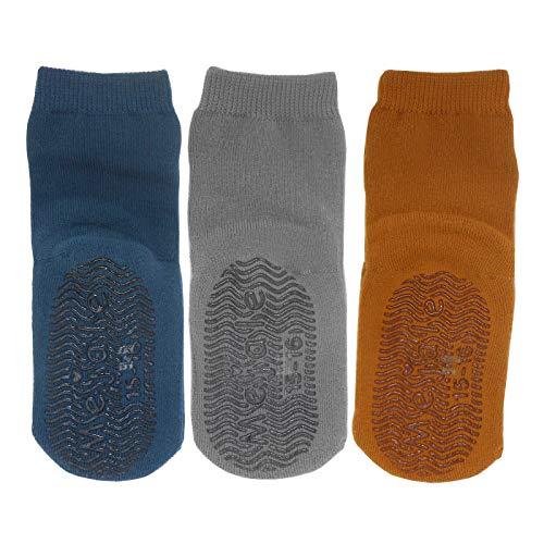 Mejale Anti-Rutsch-Socken Baby-Grip-Socken Kindersocken Erstsocken Baby-Mädchen-Socken Kleinkind-Jungen-Socken (Blau Grau Braun, 3-5 Jahre,XL)