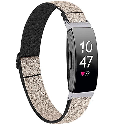 Miimall Correa elástica compatible con Fitbit Inspire/Inspire 2/Inspire HR, correa de repuesto de tela de nailon suave para reloj Fitbit Inspire/Inspire 2/Inspire HR (Bling Gold)