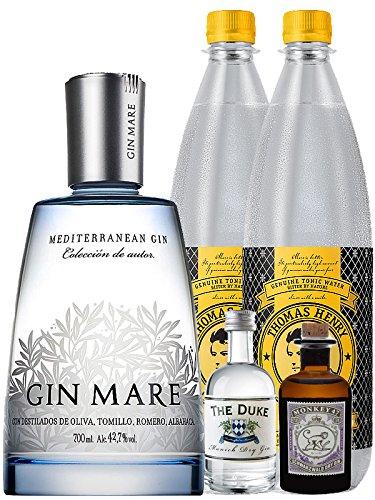Gin-Set Gin Mare aus Spanien 0,7 Liter + The Duke München Dry Gin 5 cl + Monkey 47 Schwarzwald Dry Gin 5 cl MINIATUR + 2 x Thomas Henry Tonic Water 1,0 Liter