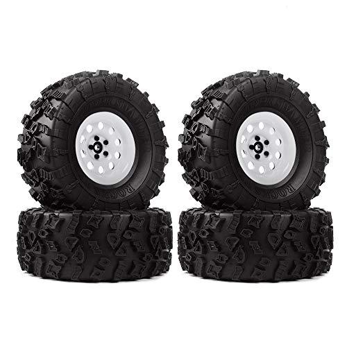 INJORA 2,2 RC Crawler Reifen Set mit Beadlock Felgen 4Pcs Tires mit Räder für 1/10 RC Rock Crawler Axial SCX10 90046 90060 RR10 AX10 Wraith 90056 (Weiß)