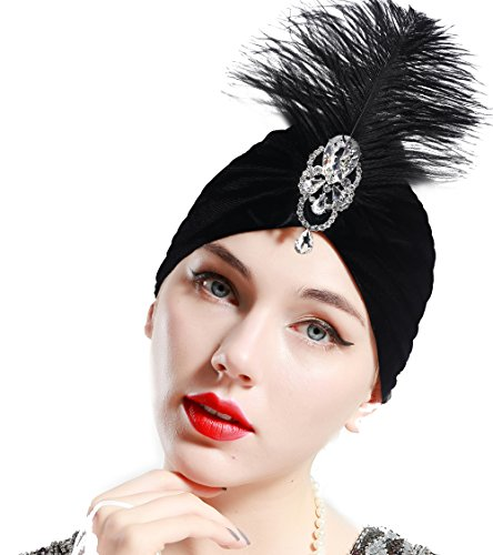 ArtiDeco Damen Turban Hut mit abnehmbarer Kristall Brosche 1920s Retro Feder Turban Hut Gatsby Accessoires (Schwarz)
