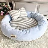 Puk Materassini per cani da compagnia Cuscini rotondi per cuccioli Inverno Caldo velluto morbido divano a sdraio per gattini cuccioli lettiera per Gatti Cuccia con cuscino, BLU, diametro 70 cm
