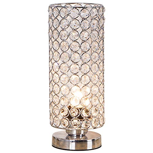 ZEEFO Crystal Table Lamp, Nightstand Decorative Room Desk Lamp, Night Light...