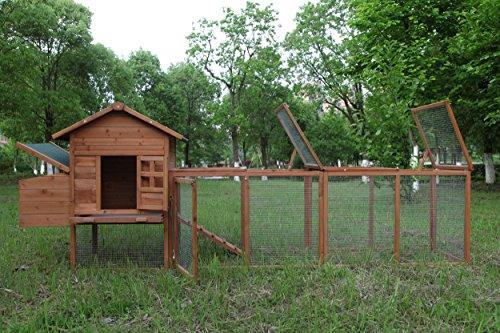 ECOLINEAR 120'' Chicken Hutch w/Run Cage Outdoor Hen House Poultry Pet Wooden Coop Nest Box Garden Backyard