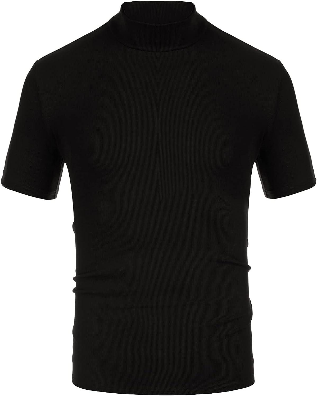 PJ PAUL JONES Mens Mock Turtleneck Knit Pullover Sweater Short Sleeve Solid Knitwear Sweaters