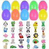 Kalolary 30pcs Conjunto de huevos de pascua con 30pcs Borrador de animal Juguete de huevo de Pascua Decoraciones infantiles para fiestas de Pascua Regalos de Pascua para niños y niñas
