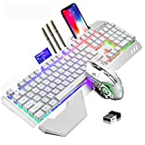 Wireless Gaming Keyboard and Mouse,RGB Backlit Rechargeable Keyboard Mouse with 5000mAh Battery Metal Panel,Removable Hand Rest Mechanical Feel Keyboard and 7 Color Gaming Mute Mouse for PC Gamers