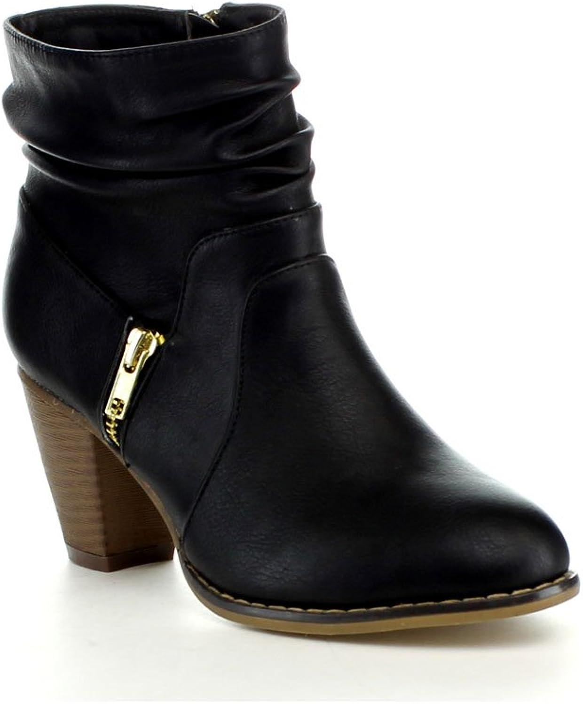 ANNA Mel-10 Women's Western Style Slouch Chunky Heel Side Zipper Ankle Bootie