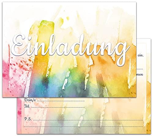12er Set Einladungskarten | Hochglanz Einladungen für Geburtstag, Gartenparty, Konfirmation | Einladungskarten für Erwachsene, Teenager & Kinder | DIN A6 | Moderne Geburtstagseinladungen Mädchen