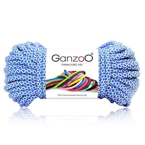 Paracorde 550 Corde Diamond pour bracelet, laisse, collier 100% nylon corde 30 mètres, couleur bleu clair/blanc