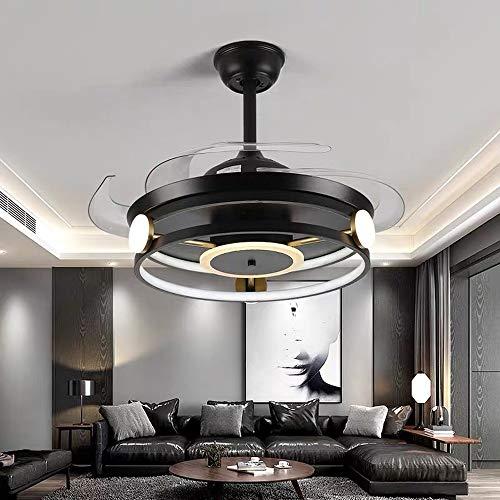 Nuokix Fans de ventilador de techo de 42 pulgadas con luces con control remoto Dormitorio Decoración Ventilador Lámpara Aire Aire Invisible Blades retráctiles silenciosos Lampara Ahorradora de Energia
