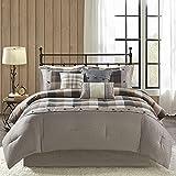 Madison Park Ridge Comforter Set-Cabin Lodge Plaid Herringbone Design All Season Down Alternative Cozy Bedding with Matching Bedskirt, Shams, Decorative Pillow, King(104'x92'), Neutral 7 Piece