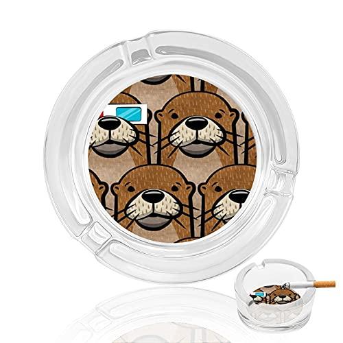 Cenicero de cigarrillo de cristal transparente antideslizante, bandeja redonda utilizada para fumadores en casa, oficina, jardín, decoración y regalo, nutrias con gafas 3D
