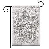 12,5 'x 18' Drapeau de Jardin février Dessin animé Doodle Ligne d'amour détaillée et Symboles célébration...