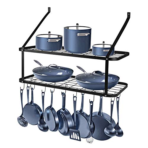 Wall Mounted Pots and Pans Rack Rottogoon 2 Tier Pot and Pan Organizer 30 Inch Wall Pot Rack with 12 Hooks Kitchen Rack OrganizerBlack