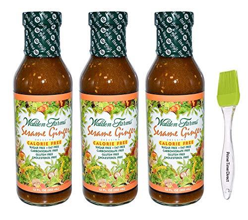 Walden Farms Sesame Ginger Salad Dressing 12oz (Pack of 3) Bundle with PrimeTime Direct Silicone Basting Brush in a PTD Sealed Bag