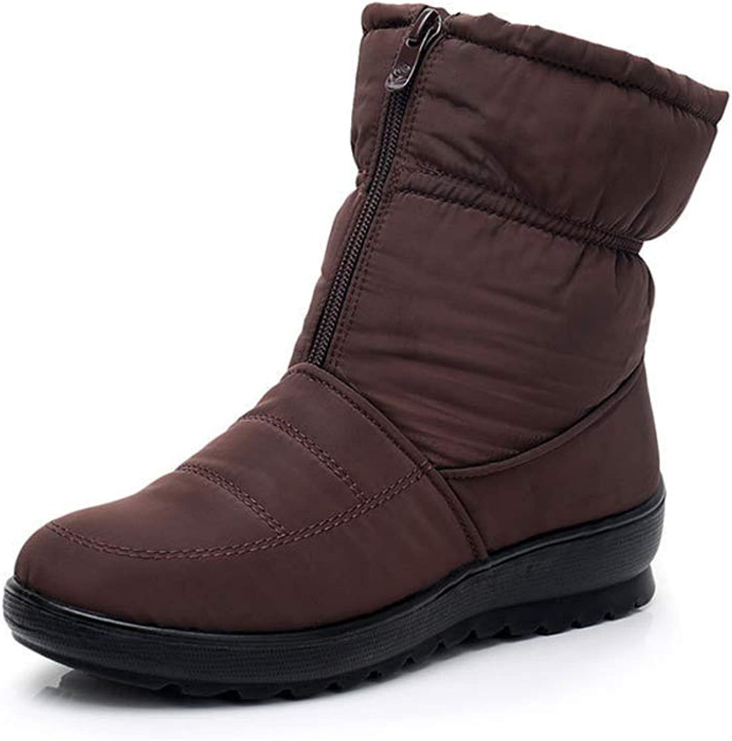 Super explosion Christmas Women's Warm Winter Snow Boots Anti-Slip Fur Lined Waterproof Front Zipper Ankle Boots
