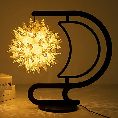 MGWA Lámpara de mesa Iluminación de papel Escultura Lámpara Diy Material/Origami Creativo Nightlights/Cultural y Creativo Regalo (Color: Negro)